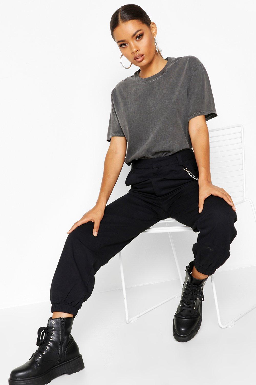 Womens T-Shirt mit Washed-Effekt - anthrazit - S, Anthrazit - Boohoo.com