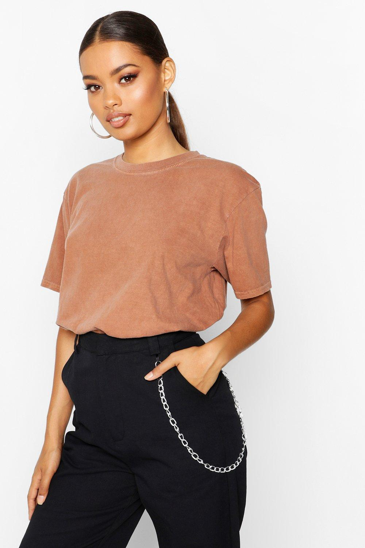 Womens T-Shirt mit Washed-Effekt - Rostbraun - M, Rostbraun - Boohoo.com