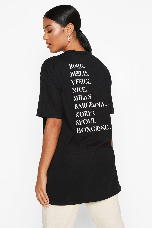 Womens T-Shirt mit Destination-Rückenaufdruck - schwarz - S, Schwarz - Boohoo.com