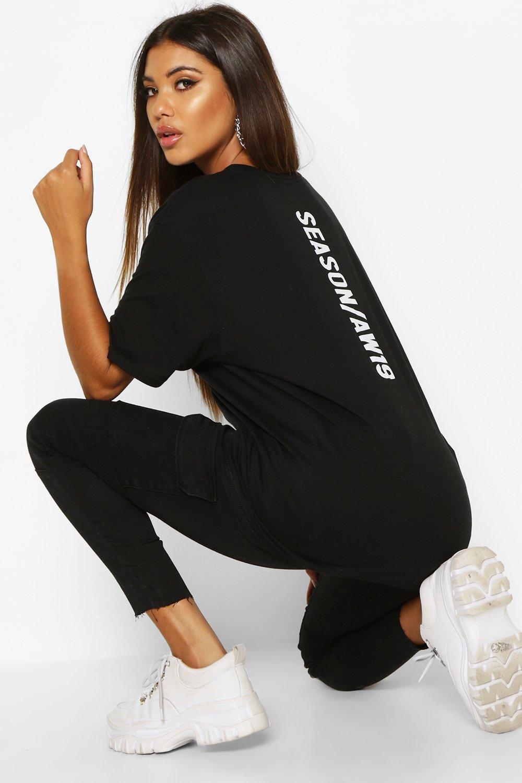 Womens T-Shirt mit Season AW19 Slogan - schwarz - S, Schwarz - Boohoo.com