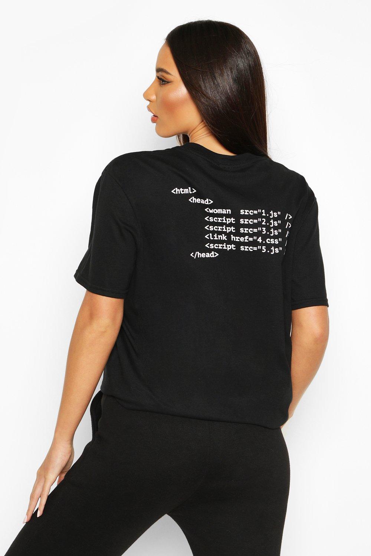 Womens T-Shirt mit aufgedrucktem Java Script Slogan auf dem Rücken - schwarz - S, Schwarz - Boohoo.com