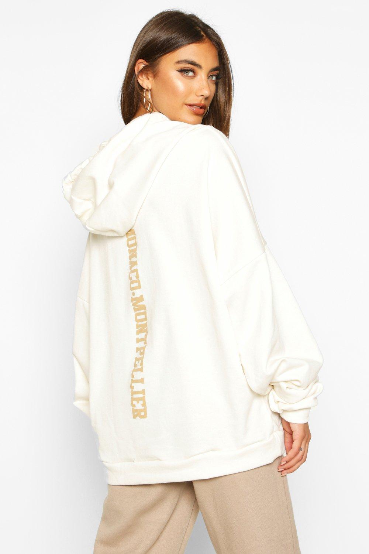 Womens Premium Hoodie mit Oversized-Print auf dem Rücken - creme - S, Creme - Boohoo.com