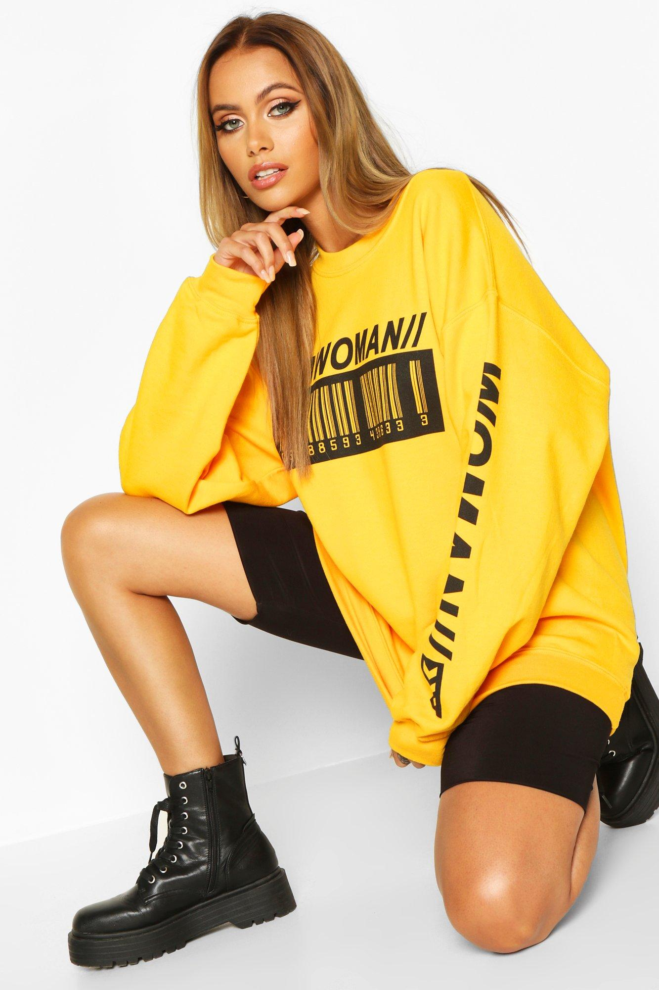 Womens Sweatshirt mit Woman Barcodes-Print - gelb - S, Gelb - Boohoo.com