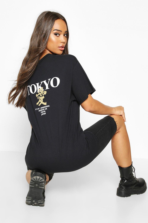 Womens T-Shirt mit aufgedruckter Tokyo-Rückengrafik - schwarz - S, Schwarz - Boohoo.com
