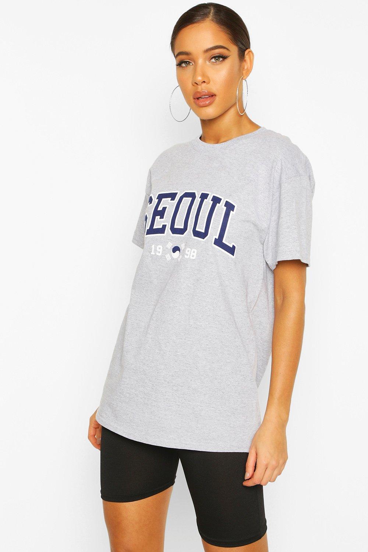 Womens T-Shirt mit Seoul-Slogan - grey marl - S, Grey Marl - Boohoo.com