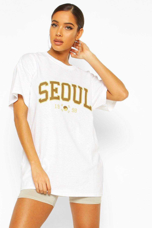 Womens T-Shirt mit Seoul-Slogan - Weiß - M, Weiß - Boohoo.com