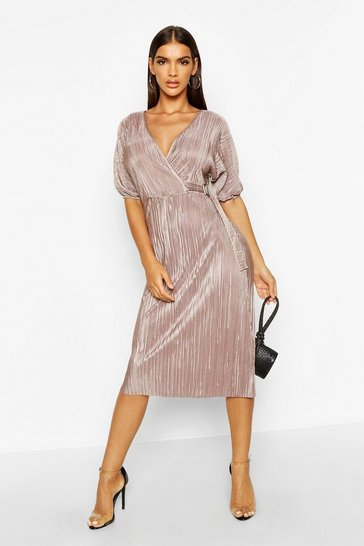 Mocha Plisse Buckle Wrap Midi Dress