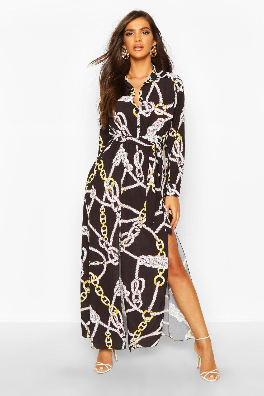 Don't Miss Out Woven Chain Print Tie Belt Midi Dress