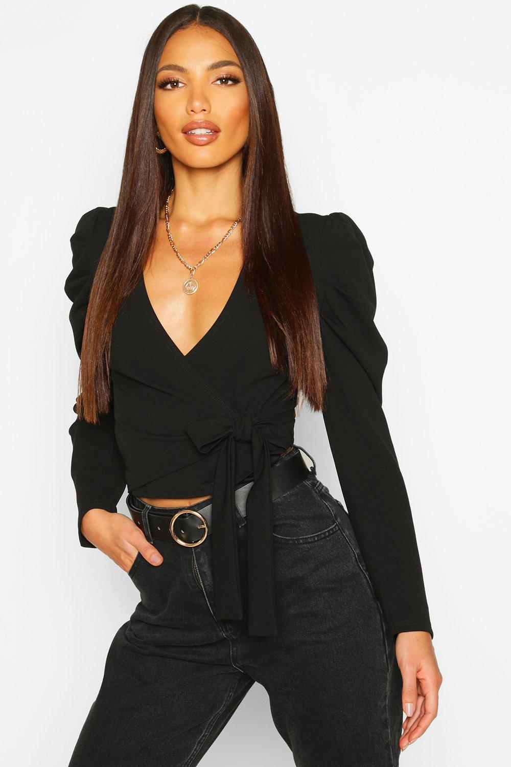 Womens Puff Sleeve Wrap Top - black - 38, Black - Boohoo.com