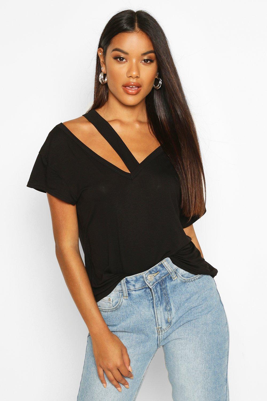 Womens T-Shirt mit Cut-Out - schwarz - 38, Schwarz - Boohoo.com
