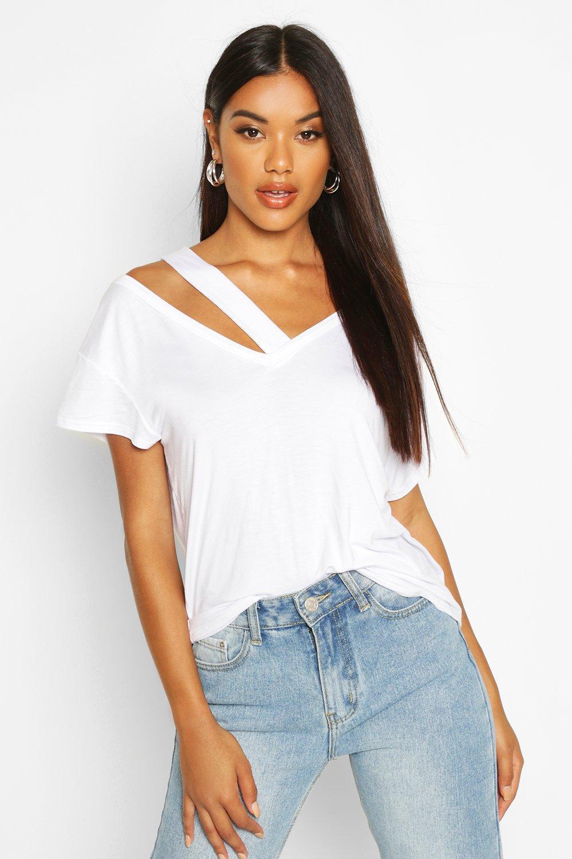 Womens T-Shirt mit Cut-Out - Weiß - 36, Weiß - Boohoo.com