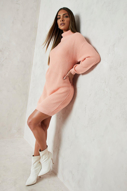 Womens Pulloverkleid im Fischerstil mit Rollkragen - Aprikose - S, Aprikose - Boohoo.com
