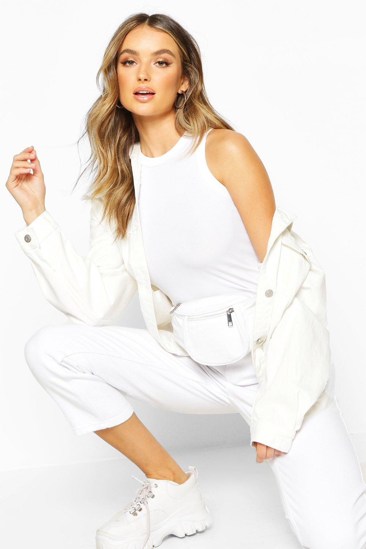 boohoo Womens Fabric Bum Bag - White - One Size, White