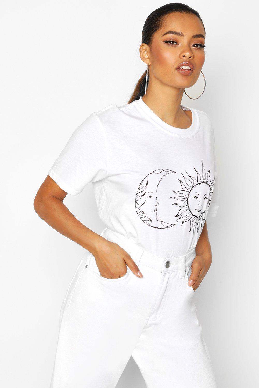 Womens Sonne und Mond - Weiß - L, Weiß - Boohoo.com