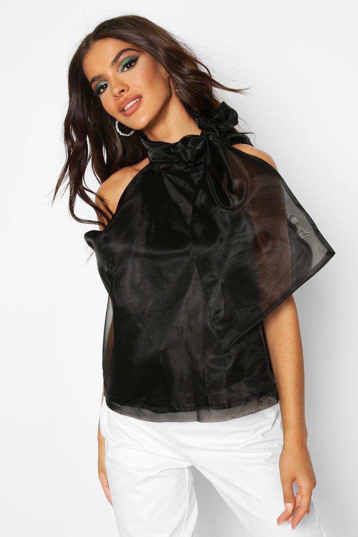 Womens Ärmellose Bluse aus Organza mit Schleifchen - schwarz - 36, Schwarz - Boohoo.com