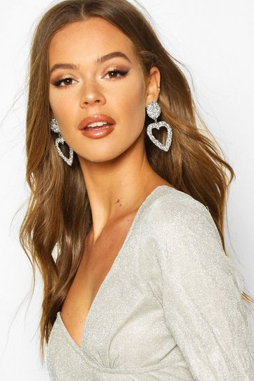 Silver Textured Heart Oversized Statement Earrings