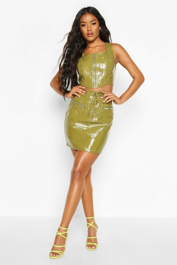 Khaki Lace Up Leather Look Pu Mini Skirt