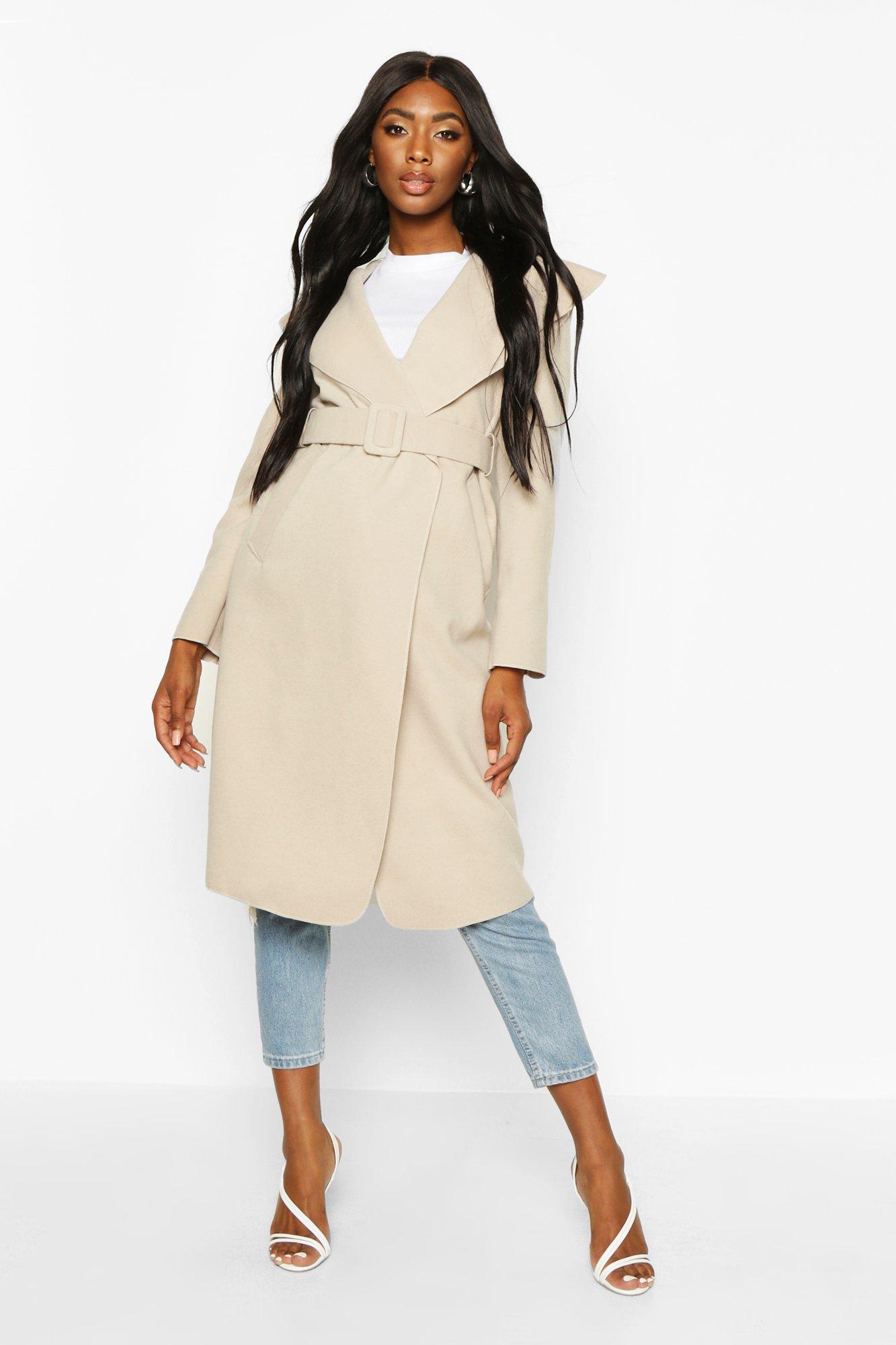 Self Fabric Buckle Belted Wool Look Coat