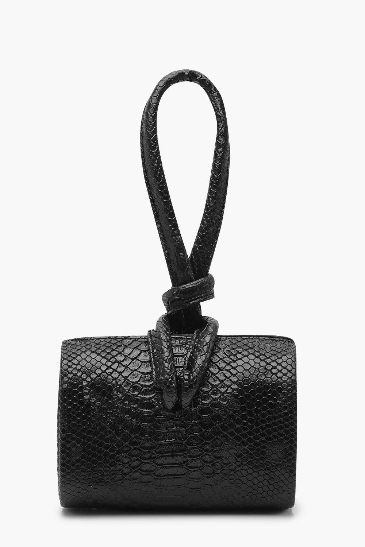 boohoo Womens Snake Mini Knot Handle Clutch Bag - Black - One Size, Black