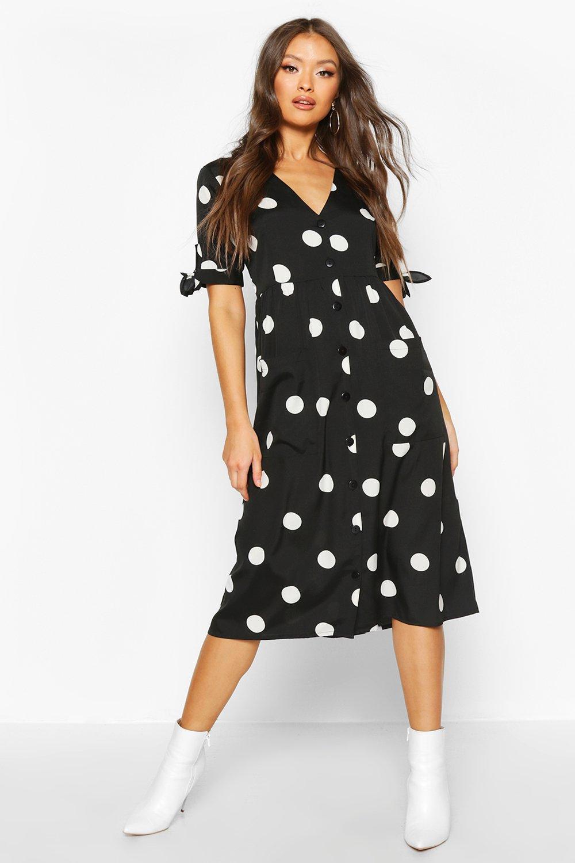 DRESSES Large Polka Dot Button Midi Smock Dress