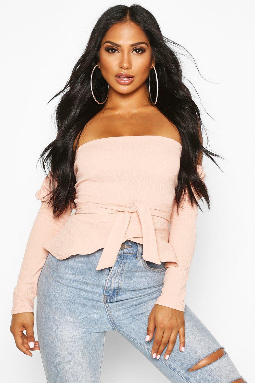 Womens Crepe Bardot Pep Hem Top - blush - 40, Blush - Boohoo.com