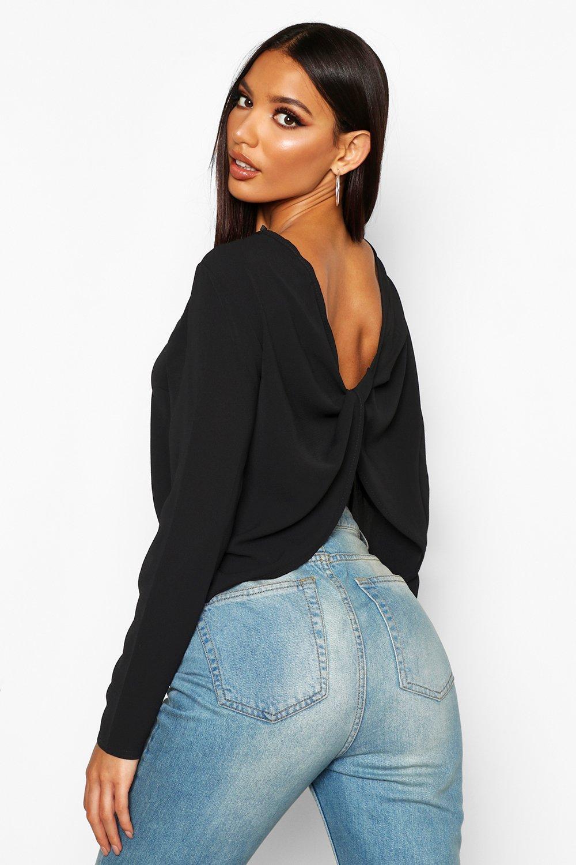Womens Schlichte Bluse mit drapiertem Rückenausschnitt - schwarz - 32, Schwarz - Boohoo.com