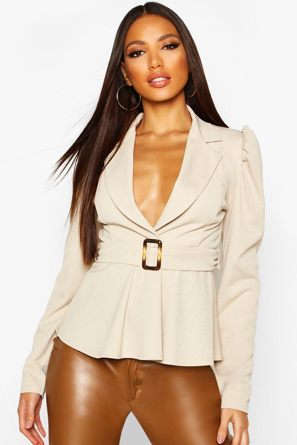 Womens Ruched Shoulder Belted Blouse - stone - 32, Stone - Boohoo.com