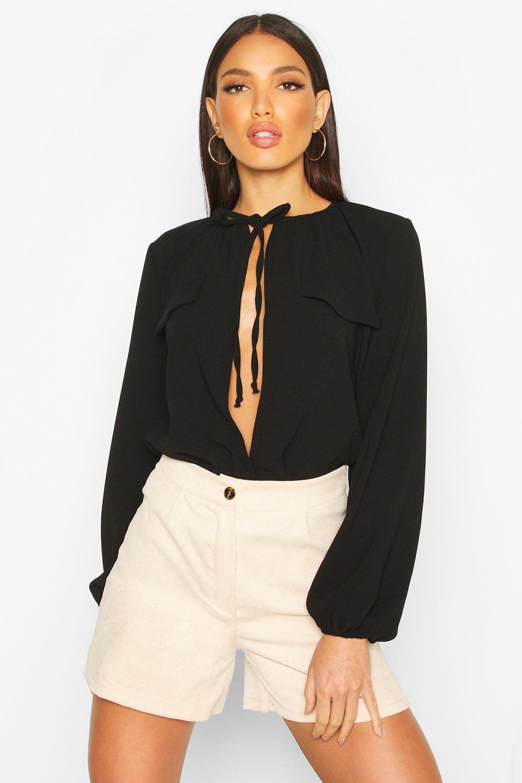 Womens Tie Neck Pocket Blouse - black - 36, Black - Boohoo.com