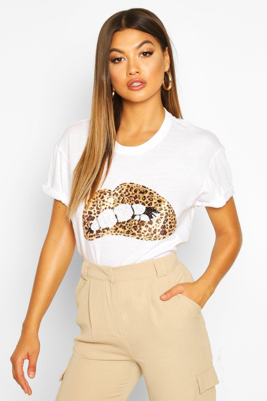 SALE Sequin Lip Print T-Shirt