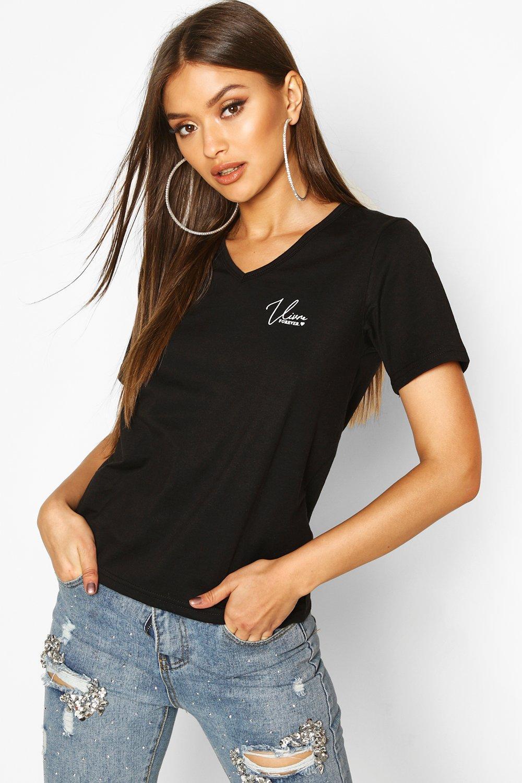 """Womens T-Shirt mit V-Ausschnitt und """"Vivre Forever""""-Slogan - schwarz - 34, Schwarz - Boohoo.com"""