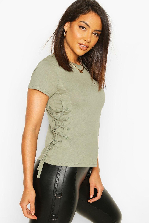 Womens Lace Up Side T-Shirt - sage - M, Sage - Boohoo.com