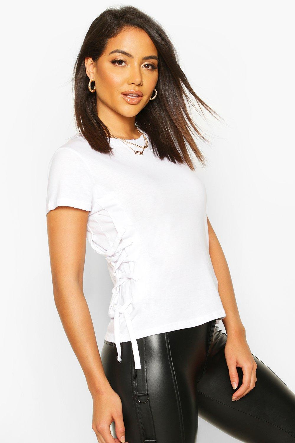 Womens Lace Up Side T-Shirt - white - S, White - Boohoo.com
