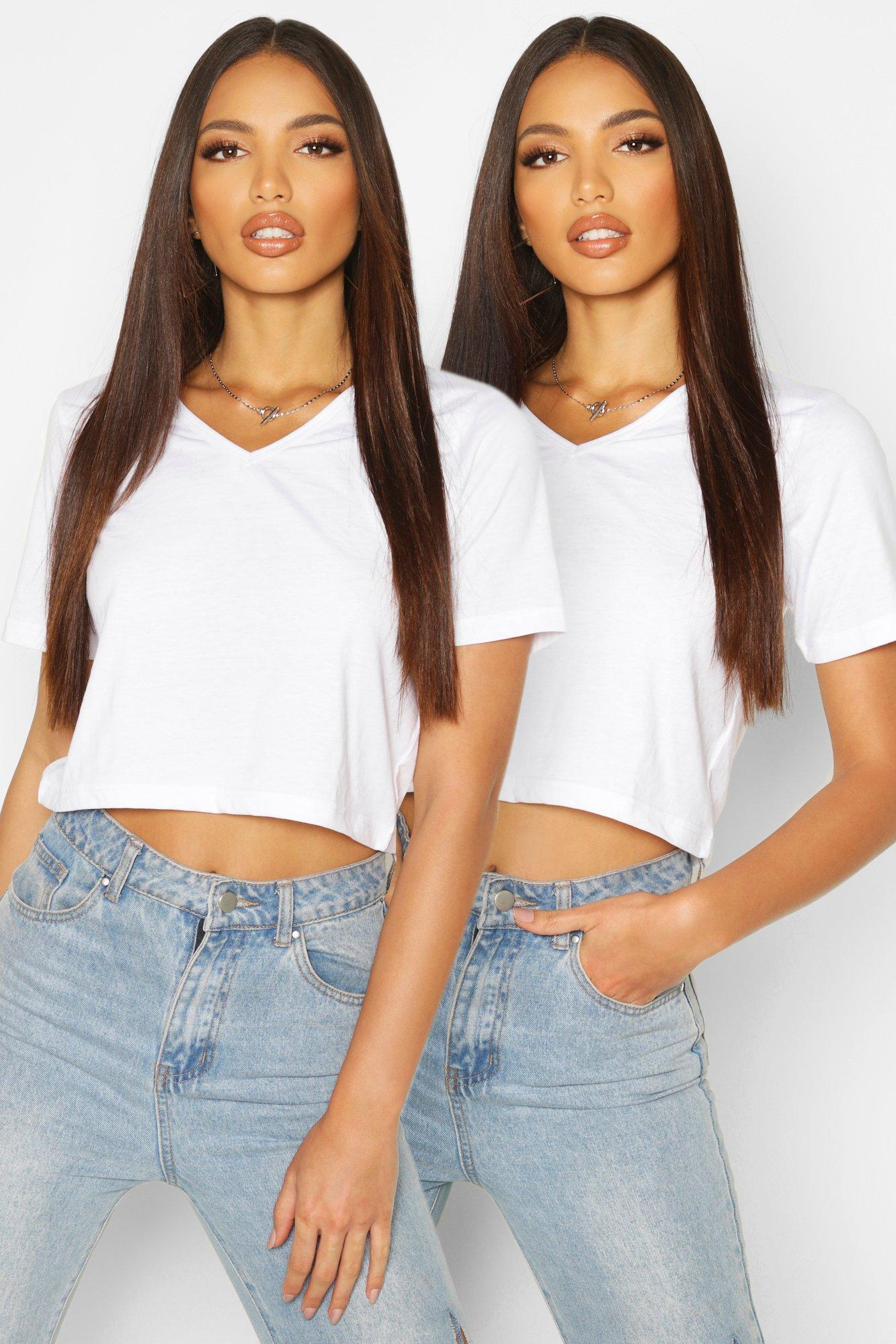 Womens 2 Pack V Neck Crop T-Shirt - white - 32, White - Boohoo.com