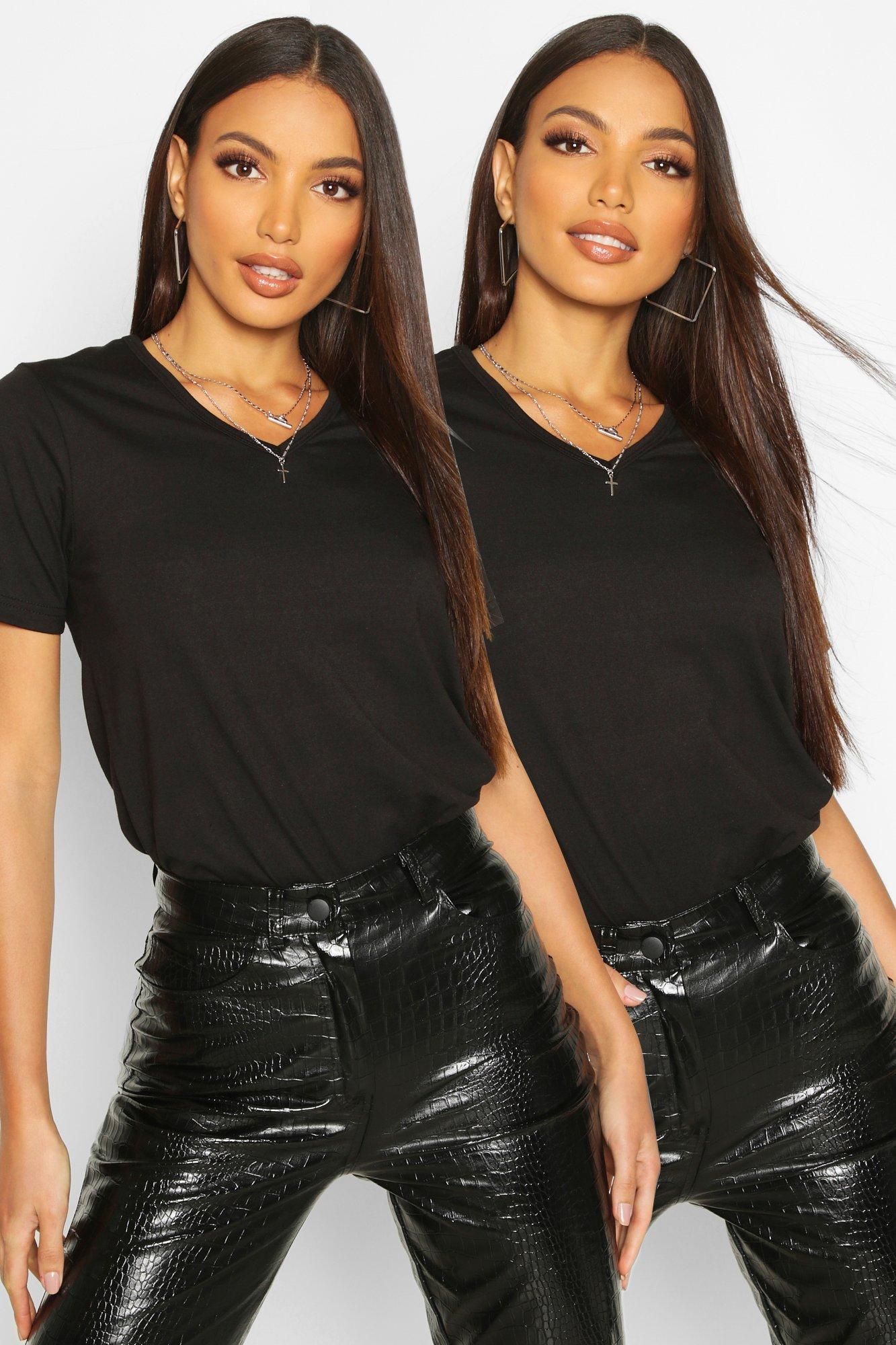 Womens 2er-Pack Kurzärmeliges T-Shirt mit V-Ausschnitt - schwarz - 34, Schwarz - Boohoo.com