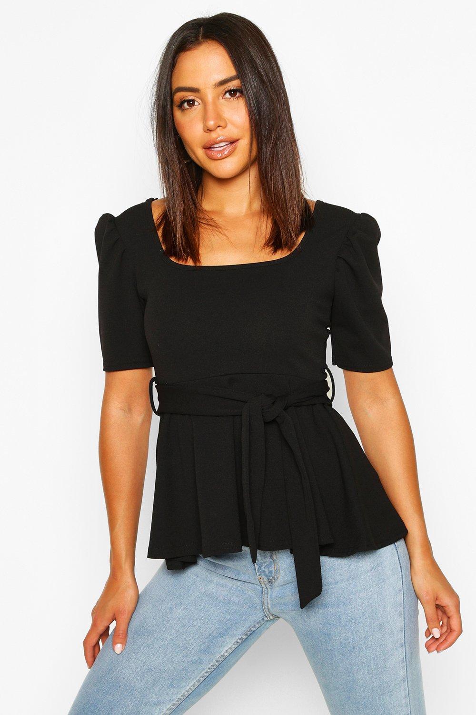 Womens Bluse mit kurzen Puffärmeln und Taillengürtel - schwarz - 34, Schwarz - Boohoo.com