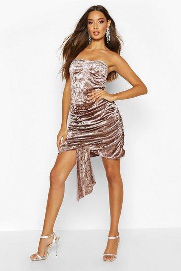 Mocha Textured Velvet Bandeau Dress