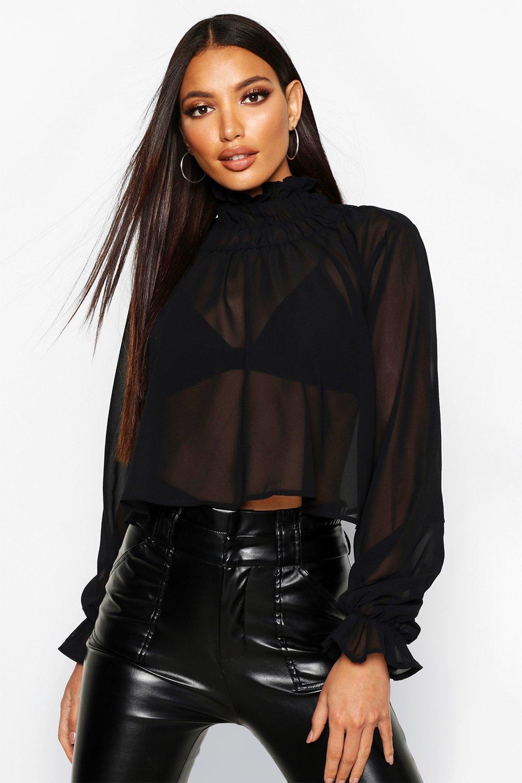 Womens Woven Sheer High Neck Blouse - black - 32, Black - Boohoo.com