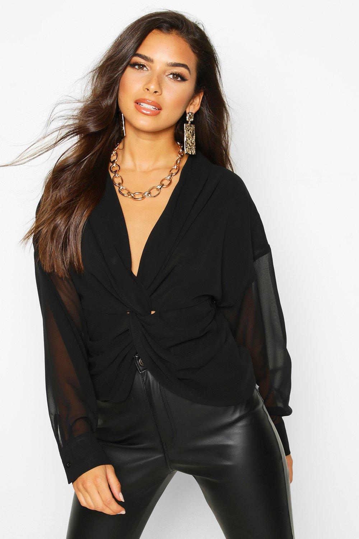 Womens Blusen aus Webmaterial mit gedrehtem Vorderteil - schwarz - 34, Schwarz - Boohoo.com