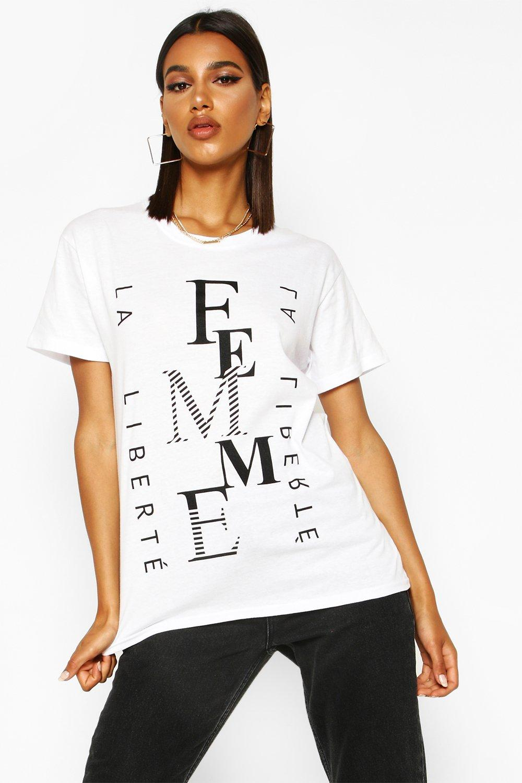 Womens Femme French Slogan T-Shirt - white - S, White - Boohoo.com