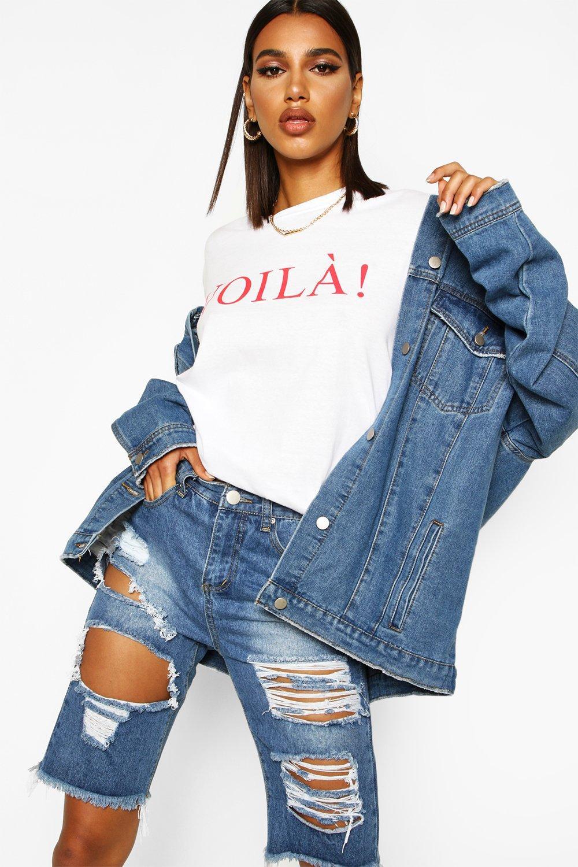 """Womens T-Shirt mit Slogan """"Voila"""" - Weiß - M, Weiß - Boohoo.com"""