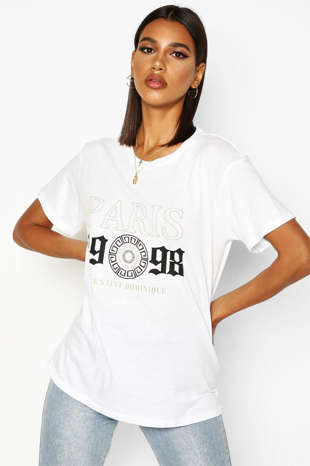 Womens Paris 98 Slogan T-Shirt - white - M, White - Boohoo.com