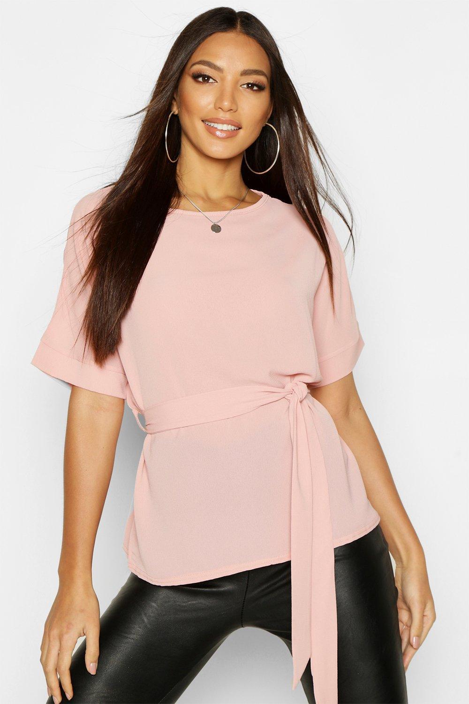 Womens Bluse aus Webstoff mit Gürtel - rosé - 36, Rosé - Boohoo.com
