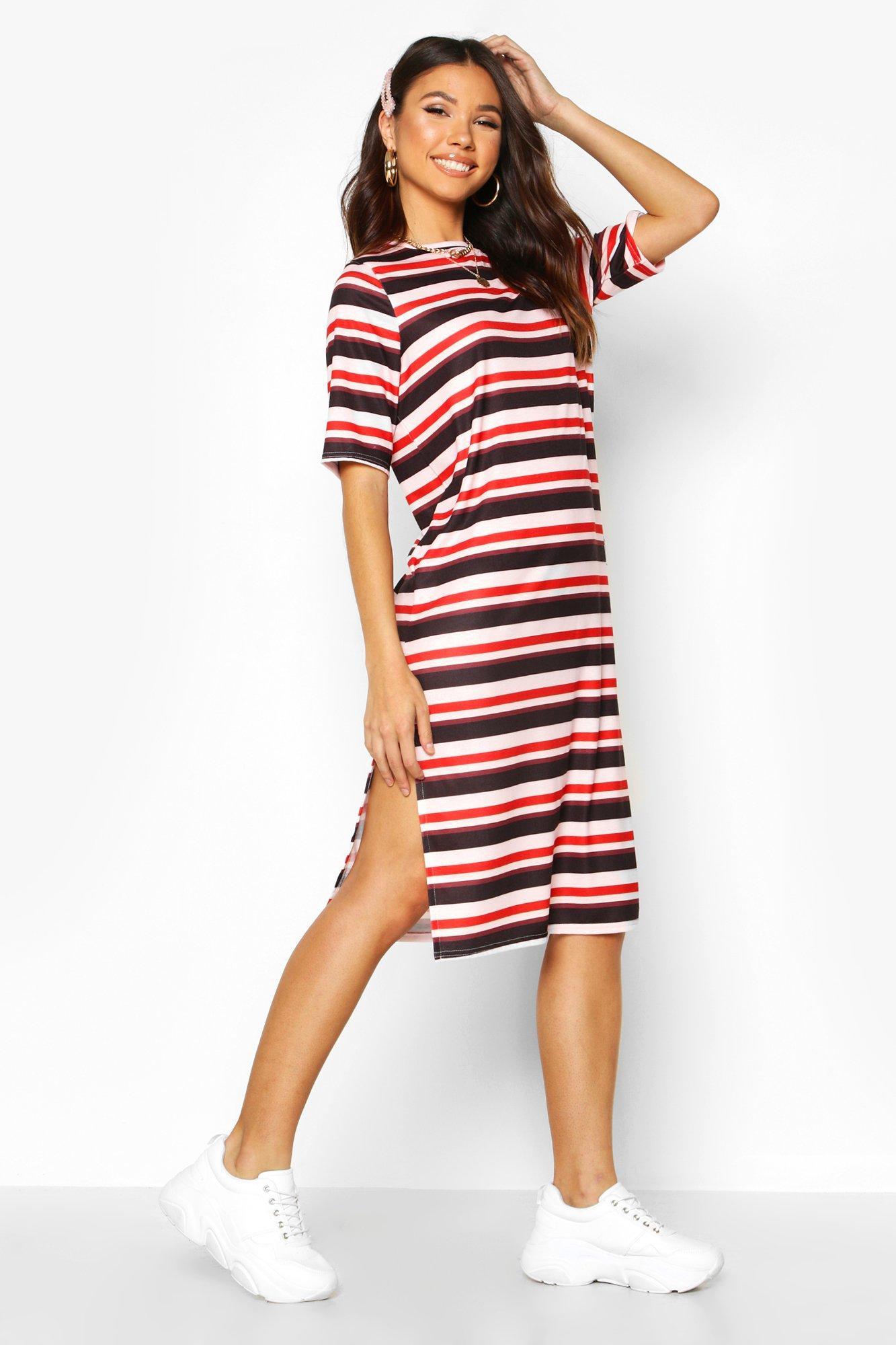 Womens Stripe Split Midi T-Shirt Dress - pink - 34, Pink - Boohoo.com