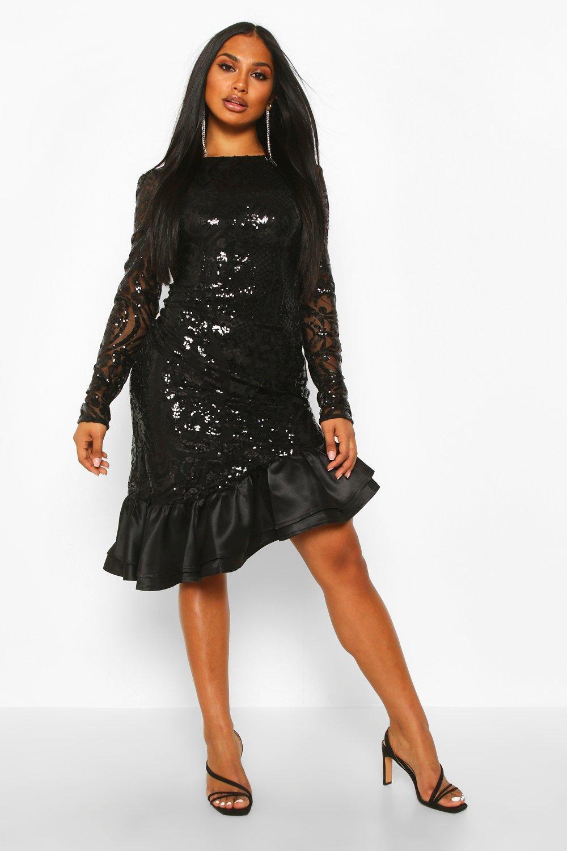 Sequin Baroque Ruffle Mini Dress