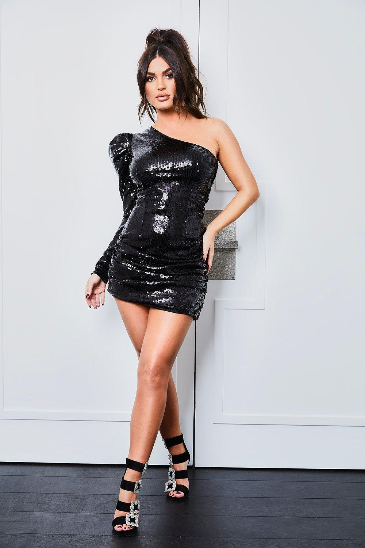 One Shoulder Dresses Sequin One Shoulder Extreme Puff Mini