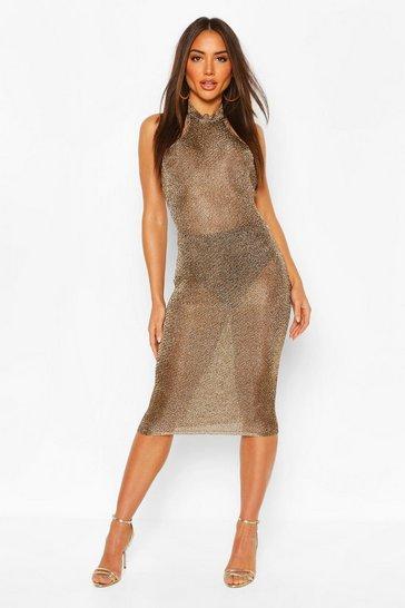 Bronze Premium Knitted Metallic Bodycon Dress