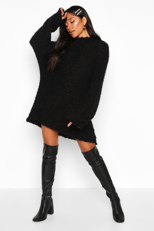 Womens Oversized Premium Strickkleid aus Bouclé mit Federdetail - schwarz - S, Schwarz - Boohoo.com