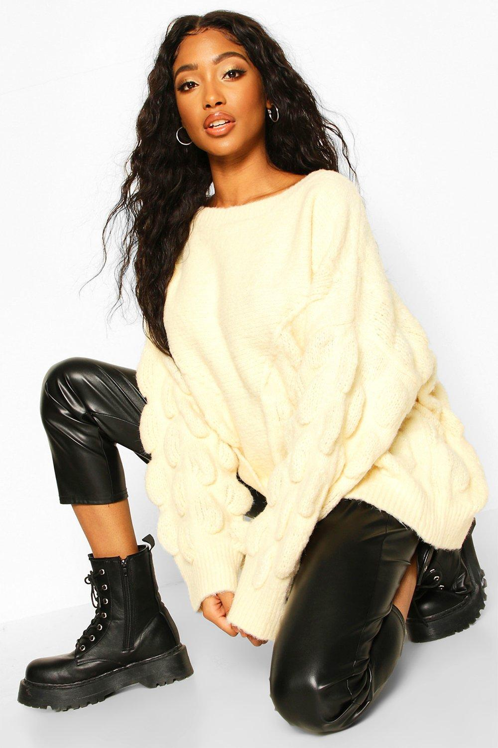 Womens Oversized Noppenstrickpullover - creme - S/M, Creme - Boohoo.com