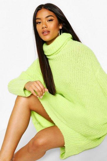Lime Oversized Rib Knit Boyfriend Jumper Dress