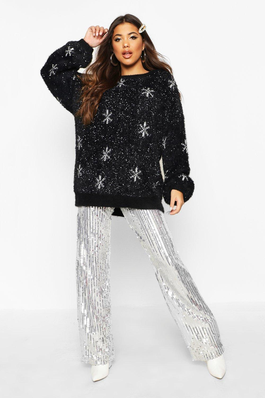 Womens Oversized Schneeflocken-Pullover mit Feder-Flitter - schwarz - S, Schwarz - Boohoo.com